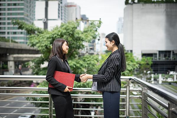 Businessmen handshake with workmate,Handshake business partner work deal together.